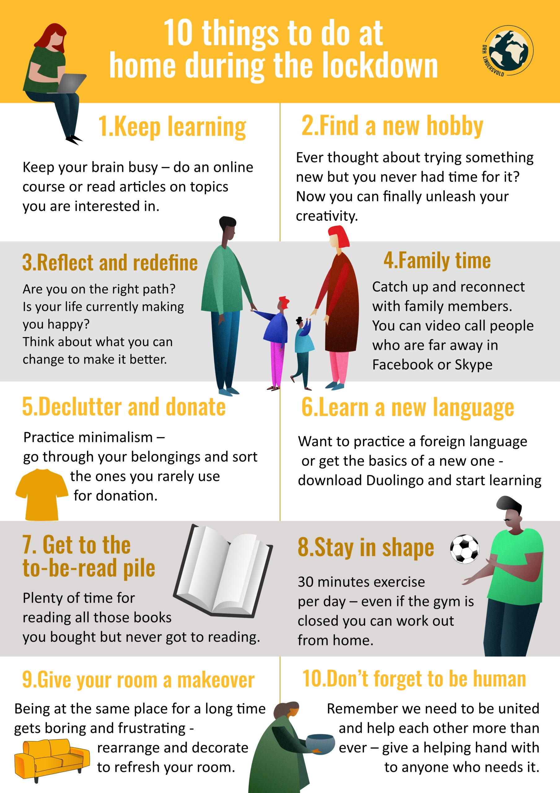 10 things to do during at home during the lockdown. - DRH Lindersvold